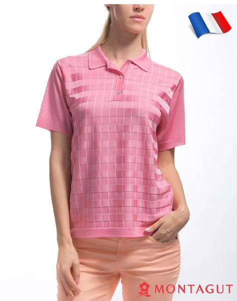 女款短袖POLO衫 女藝人穿搭款 夢特嬌法國製造亮絲系列 氣質方格紋-粉紅