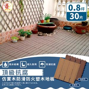 【家適帝】頂級抗腐仿實木防滑防火塑木地板(30片 /0.8坪)咖啡色*30