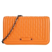 【南紡購物中心】LONGCHAMP AMAZONE系列格紋小羊皮翻蓋鍊帶斜背包(柳橙)