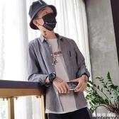 2019新品秋季正韓男士長袖襯衫ins條紋港風寬鬆襯衣休閒潮流外套