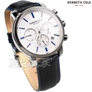 Kenneth Cole 紳士經典 三眼多功能 計時碼表 男錶 白色 真皮錶帶 KC50775001