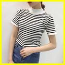 2018夏裝新款學生上衣半高領修身針織打底衫黑白條紋T恤女短袖潮