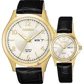 CITIZEN 星辰 經典日曆石英對錶-金框x黑/40+27mm BF2003-25A+EQ0593-26A