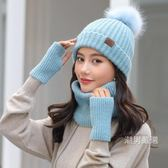 毛線帽女秋冬正韓潮百搭針織帽子圍巾一體冬季保暖加厚護耳兔毛帽