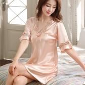 睡衣女夏天睡裙韓版性感短袖冰絲