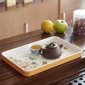 雙十二年終盛宴大托盤長方歐式杯子茶杯托盤 密胺水果盤置物盤雙色花卉茶盤   初見居家