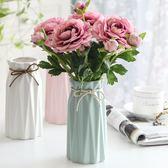 歐式客廳餐桌仿真露蓮玫瑰假花套裝家居裝飾品干花絹花束花藝擺件   遇見生活