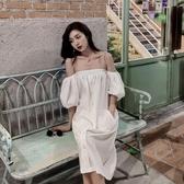 一字領洋裝 抹胸連身裙女夏2020新款韓版性感氣質露肩