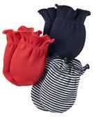 【美國Carter's】純棉嬰兒手套3入組 - 彩色活力條紋系列 126G313