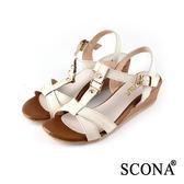 SCONA 蘇格南 全真皮 簡約舒適交叉楔型涼鞋 米色 22728-1