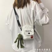 韓版ins帆布側背包包女包新款網紅同款學生小清新百搭單肩包 科炫數位