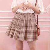 Poly Lulu 完美修身細壓摺格紋波浪短裙-卡其【95250068】