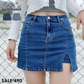 LULUS特價【A05200053】K單側開叉內襯褲短裙/牛仔裙S-L2色