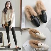 穆勒鞋毛毛鞋子女外穿新款豆豆鞋加絨網紅秋冬英倫平底小皮鞋