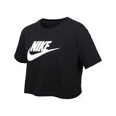 NIKE 女短版短袖T恤(純棉 寬版 休閒 上衣 慢跑 免運 ≡排汗專家≡