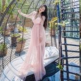 長洋裝 波西米亞風-優雅性感低胸唯美女連身裙2色73mw25【巴黎精品】