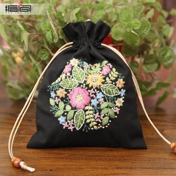 刺繡DIY 指間刺繡手工diy材料包束口袋抽繩手提手拎零錢袋傳統復古收納包-快速出貨