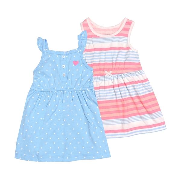 女寶寶洋裝套裝三件組 無袖細肩帶裙子+背心裙+內褲 藍點點 | Carter s卡特童裝 (嬰幼兒/兒童/小孩)
