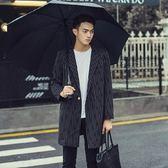西裝外套-寬鬆直條紋休閒時尚長版大衣72p26[巴黎精品]