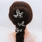 珍珠髮簪(三件套)-水晶枝葉不對稱手工頭飾73xr15【時尚巴黎】