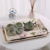 歐式水杯托盤套裝 長方形餐具塑料托盤茶盤創意水果盤 快速出貨 全館八折