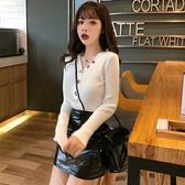 秋季時尚新款韓版百搭v領坑條彈力針織打底衫純色修身薄款毛衣女