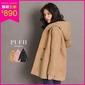 現貨 PUFII-外套 厚磅質感毛呢毛球連帽排釦外套 3色-1129 冬【ZP15665】