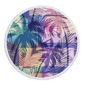沙灘巾 植物 圖騰 印花 流蘇 野餐巾 海灘巾 圓形沙灘巾 150*150【YC022】 icoca  04/03