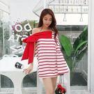 甜美大蝴蝶條紋連身裙夏裝時尚一字領寬鬆燈籠袖短裙子消費滿一千現折一百