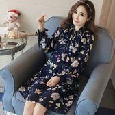 *漂亮小媽咪* 韓國 花色 雪紡 立領 繫帶 蝴蝶結 長袖 孕婦洋裝 孕婦裝 D2513