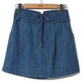 春夏↘7折[H2O]假腰帶設計顯瘦小A字裙(褲裙裡) - 牛仔藍色/黑色 #8672008
