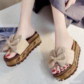 涼拖鞋女夏季時尚外穿 新款百搭韓版厚底坡跟蝴蝶結一字拖女鞋  蜜拉貝爾