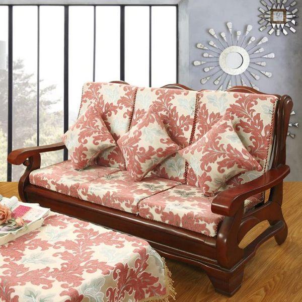 椅墊 實木紅木質坐墊冬季加厚海綿帶靠背四季防滑沙發靠墊 萬客居