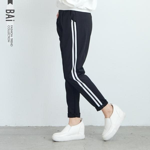 運動褲 側白邊雙線拼接彈性綁帶鬆緊休閒褲-BAi白媽媽【305271】