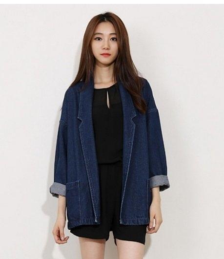 韓國 長版 牛仔外套 翻領外套 女 長版牛仔 大翻領 大衣