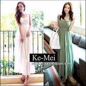 克妹Ke-Mei【ZT42808】女神系~波西米亞收腰吊帶雪紡渡假長洋裝
