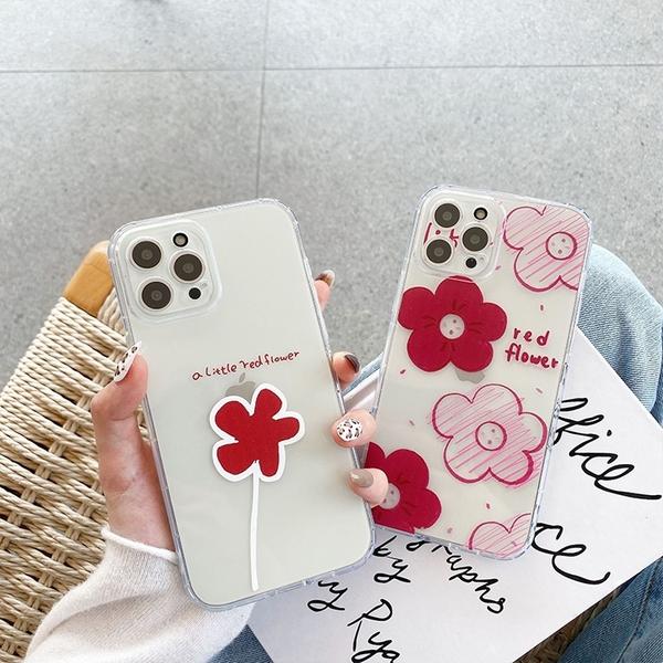 紅花朵朵|三星 M12 A32 5G A42 A52 5G S20FE 可愛少女 手機殼 軟殼 透明殼 輕薄 裸機 基本款 防摔 保護套