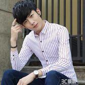 春季新款男士長袖襯衫韓版修身條紋襯衣潮流男裝青年休閒格子上衣 3c優購