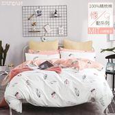 《DUYAN竹漾》台灣製100%精梳棉雙人加大四件式鋪棉兩用被床包組-波西米亞羽毛