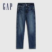 Gap女裝 時尚高腰直筒型牛仔褲 619201-深藍色