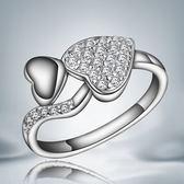 925純銀戒指鑲鑽-愛心耀眼生日情人節禮物女配件73at145【巴黎精品】