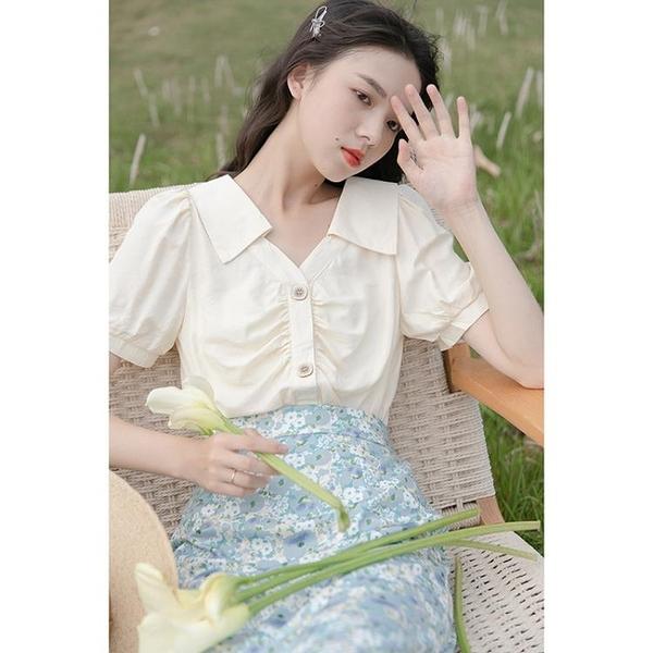 緞面襯衫 黃色泡泡袖襯衫設計感小眾褶皺v領洋氣減齡小衫短袖小個子上衣女 設計師