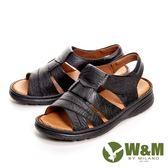 【W&M】可調式魔鬼氈軟墊厚底 男涼鞋-黑(另有咖啡)