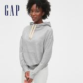 Gap女裝 活力純色縮口抽繩連帽上衣 525951-淺石楠灰