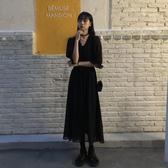 雪紡洋裝夏季2020新款復古桔梗裙冷淡風收腰顯瘦中長款雪紡短袖連身裙女裝 suger