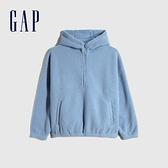 Gap女裝 保暖仿羊羔絨半連帽外套 655693-石藍