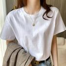 短袖T恤 200g美式重磅純棉圓領打底T恤白色短袖t恤寬鬆純色男女半袖上衣夏 寶貝寶貝計畫 上新