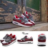 Nike 復古慢跑鞋 Air Max 1 GS 紅 灰 麂皮 氣墊 運動鞋 基本款 女鞋 大童鞋【PUMP306】 807602-109