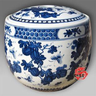 手繪 青花瓷蓋缸米缸儲物罐