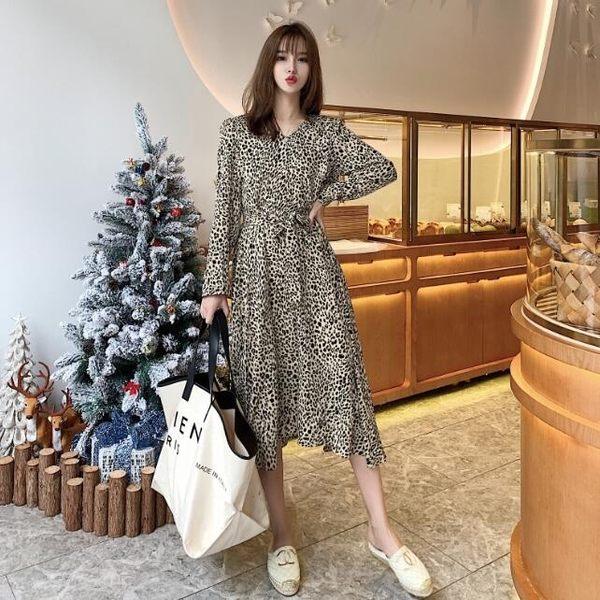 洋裝 韓版 豹紋繫帶長袖連身裙 花漾小姐【預購】